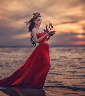 red sailing boat, Queen and red dress