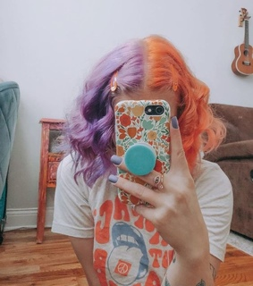 colorful, dyed hair and colourful hair