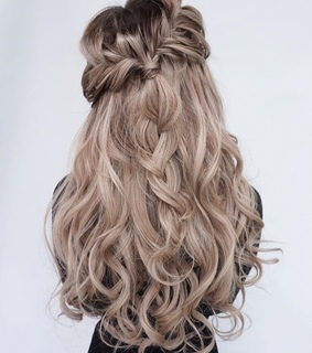 hairstyle, braided and blonde
