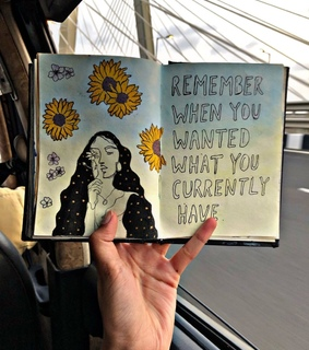 diary, sketch book and quotes