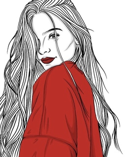 lipstick, red and long hair