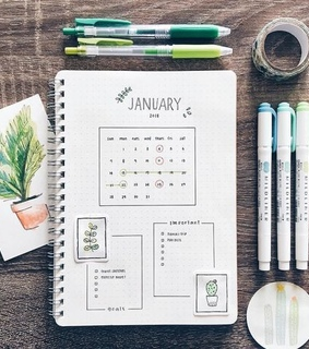 personalplanner, bulletjournal and layout