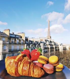 croissant, happy and strawberry