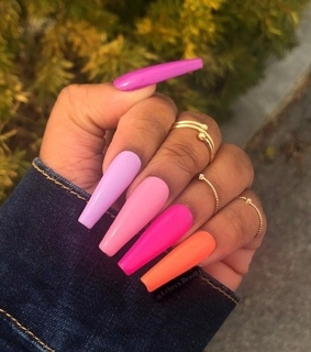 pink nails, purple nails and beauty