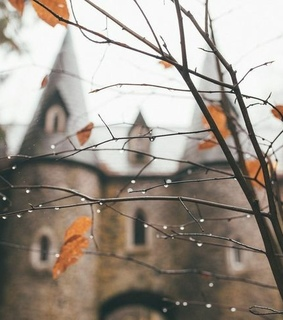 castle, fall and rain