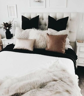 silver, white and bed