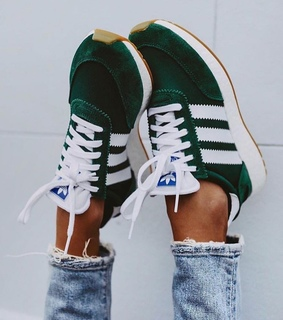 sneakers, green and adidas