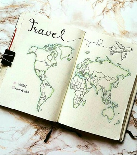 travel, world map and journal