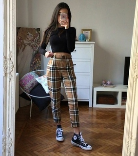 plaid pants, skater and converse