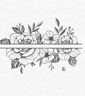 flowers, sketch and pencil