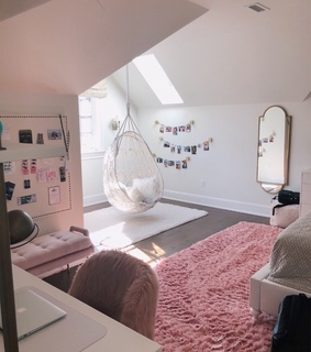 girly, bedroom and pink