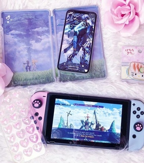 iphone x, nintendo switch and pink