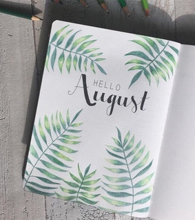 August, title and bullet journal