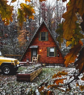 november, cabin and leaves