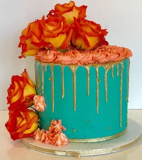 turquoise cake, rose and aesthetic