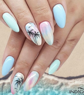 blue, nail art and style