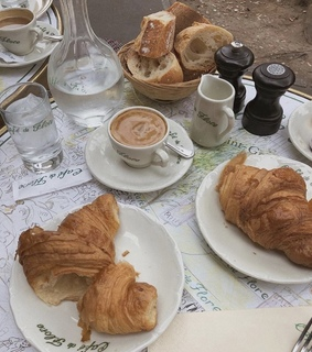 food, croissant and yummy