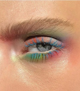colorful, eye makeup and blue eyelashes
