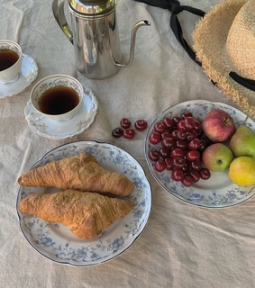 photography, cherries and croissant