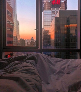 travel, city and bedroom
