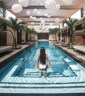 girl, inspiration and swimming pool