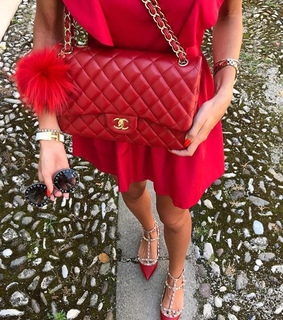 chanel, red chanel and red dress
