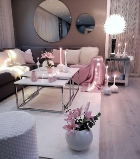 girl, pink and living room