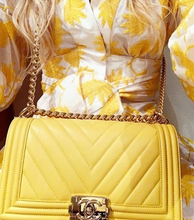 chanel, all yellow and bag