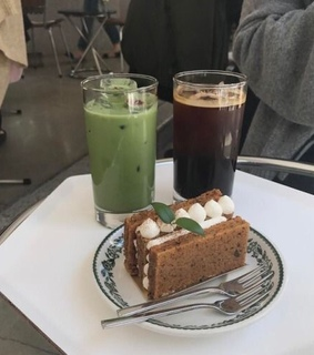 coffee, matcha and green aes