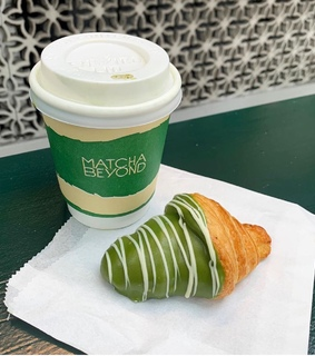 matcha green tea, croissant and green aesthetics