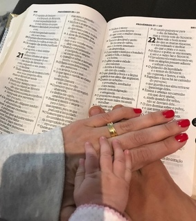 hands, bible and family