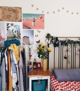 aesthetic, sunflowers and bedroom