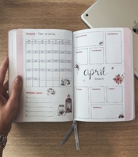 plans, bullet journal and april