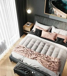 black, wood and bed