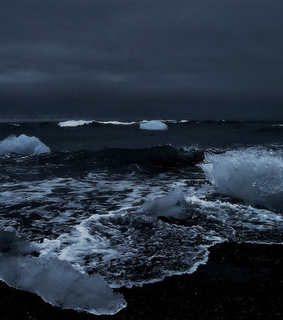 wave, ocean view and night