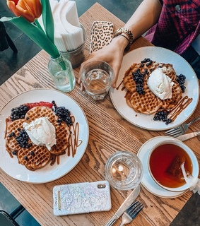 food, delicious and waffle