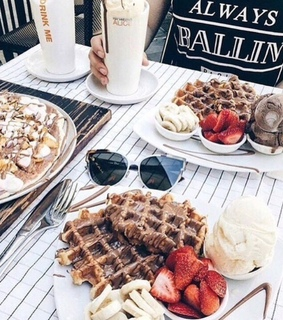 waffle, coffee and breakfast