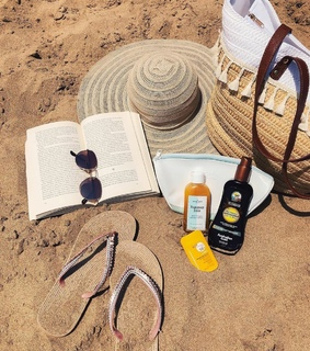 beauty products, beach and hat