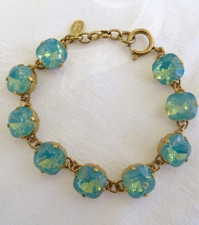 french bracelet, swarovski crystals and pacific opal stones