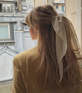 hairstyle, ribbon and girl