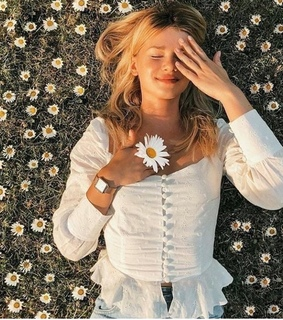 field, girl and white top