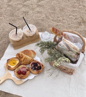 picnic, scenery and food