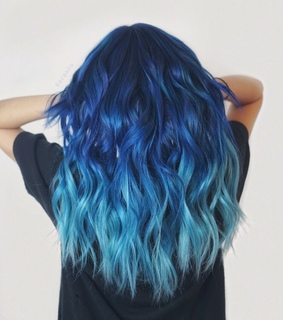 hairstyle, wavy and blue hair