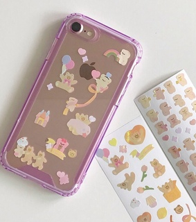 phone case, clear and stickers