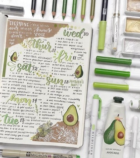 avocado, bullet journal and plans