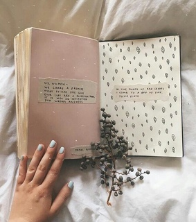 leaves, journal and pink