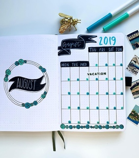 monthly log, bujo and monthly