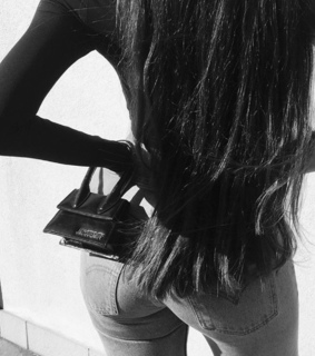 black and white, bag and jeans