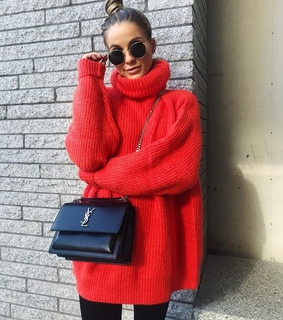 red sweater, oversize and purse