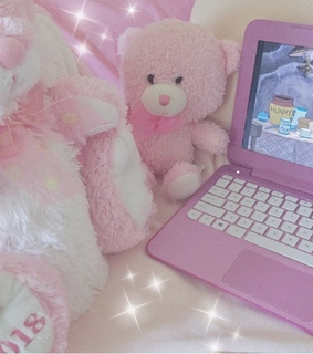 laptop, pink and rabbit